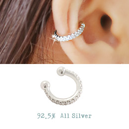 238279 - <EC111-BD06> [Silver] one line cubic ear cuff