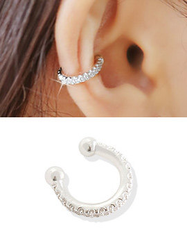 238279 - <EC111-BD06> [Silver] one line cubic ear cuff