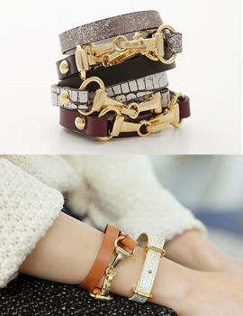 238316 - <BC303-HE11> two ring buckle leather bracelet