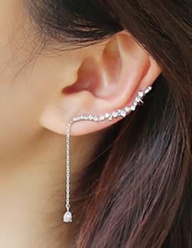 238339 - <ER654-CA22> [Silver Post] Eos cubic ear cuff