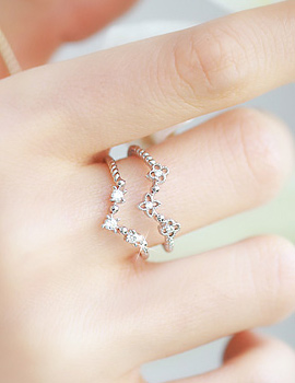 238365 - <RI371-S> [Immediate out of stock] Flower double line ring