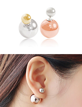 887095 - <ER659-DB09> [Silver Post] two tone shine ball earrings