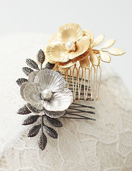 887120 - <HA347-FD00> lily Flower comb pin