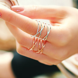 887129 - <RI372-AC13> [Beautiful Birth] [Silver] Sarah slim multi line ring