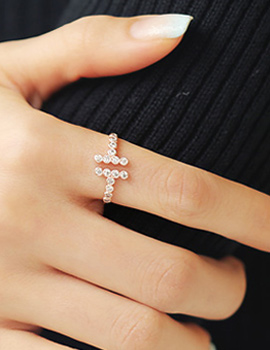 887146 - <RI374-S> [Out of stock] double cubic T ring