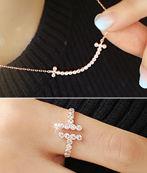 887147 - <JS143-IF05> [necklace + ring] double cubic T set