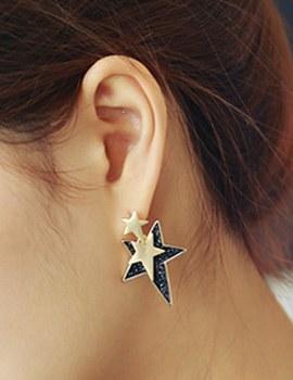 887152 - <ER669-DJ19> triple black star earrings