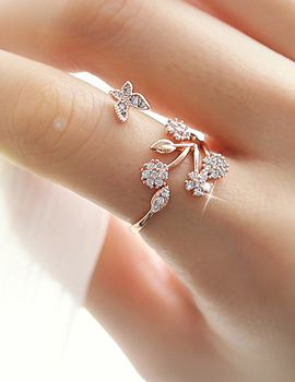 888013 - <RI381-JI18> sweet butterfly cubic ring
