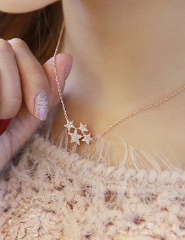 888076 - <NE185-S> [Shipped same day] [Silver] shining star necklace