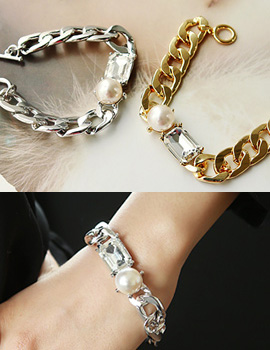 888100 - <BC308-S> [Same day delivery] luster bold chain bracelet