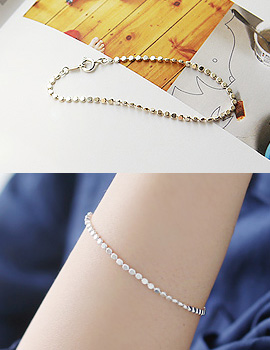 889275 - <BC309-BE07> [Silver] round flat chain bracelet