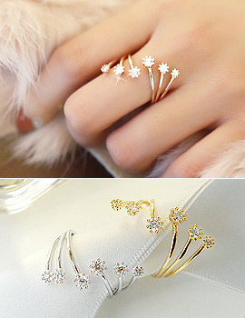 889278 - <RI385-S> [Out of stock] triple line cubic ring