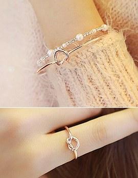 889279 - <BC310-HE24> [3Piece 1set] lovely heart bracelet & ring