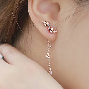 893699 - <ER687-GG13> [Silver Post] galaxy drop two-way earrings