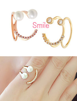893744 - <RI392-S> [Immediate out of stock] happy smile cubic & pearl ring