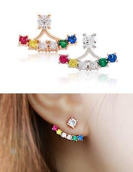893746 - <ER690-DJ13> [Silver Post] rainbow two way earrings