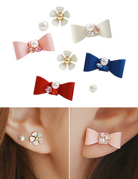 893788 - <ER692-DJ06> ribbon & Flower 6piece earrings