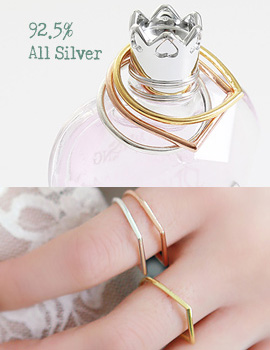 893850 - <RI398-JA11~12> [Immediate out of stock] [Silver] drop & square Silver ring