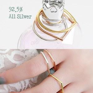 893850 - <RI398-JA11~12> [Silver] drop & square Silver ring