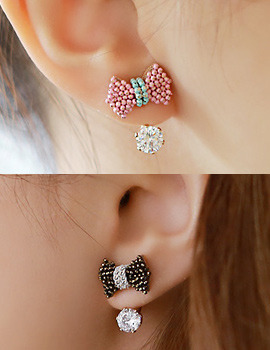 894035 - <ER697-DK19> [handmade] ball chain ribbon two-way earrings
