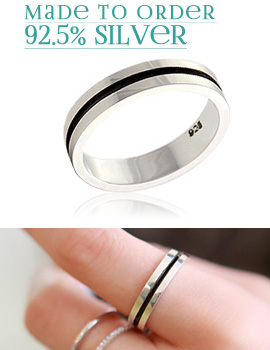 894046 - <RI401-B> [order production] [Silver] black line point ring