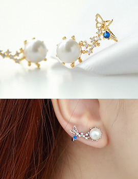 894717 - <ER707-DF11> [Silver Post] Merve butterfly earrings