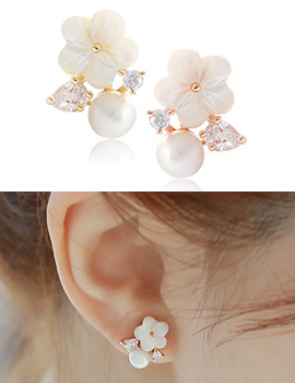 1020058 - <ER1274_DM01> [Same day delivery] [clip type] loving W Flower earrings