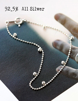 1020215 - <BC324-IE16> [Silver] ball point bracelet