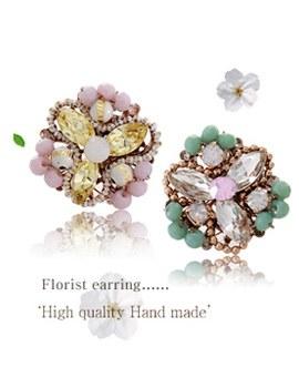 1020528 - <ER716-DE01> [handmade] [Silver Post] florist earrings