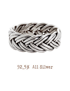 1020595 - <RI420-JJ12> [Silver] wide braid ring