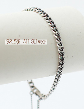 1020860 - <BC328-BD06> [Silver] antique single chain bracelet
