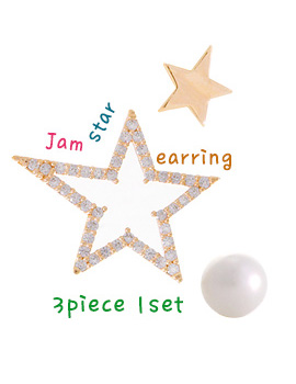 1020861 - <ER720-DI06> [3Piece 1set] jam star earrings