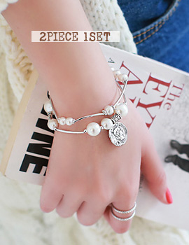 1020863 - <BC329-S> [Immediate out of stock] [2Piece 1set] twice pearl bracelet