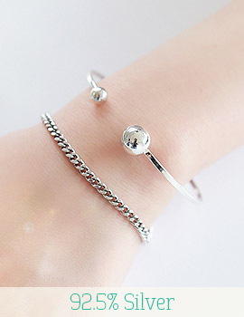 1043329 - <BC340-BA05> [Silver] double ball bangle bracelet