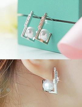 1043331 - <ER732-GH12> [Silver Post] rich pearl earrings
