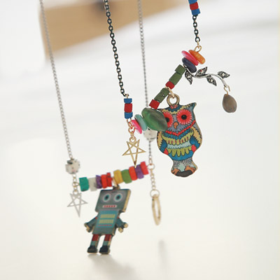 1043337 - <NE208-BC05> Owl and robot necklace