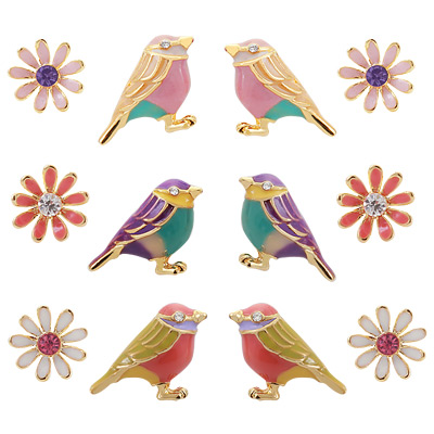 1043368 - <ER744-GE18> bird & Flower earrings