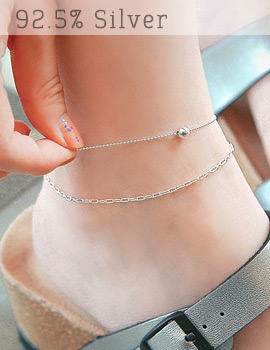 1043399 - <BC361-HH07> [Silver] Arris ball anklet