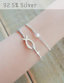 1043413 - <BC363-HG18> [Silver] Nemo bangle bracelet