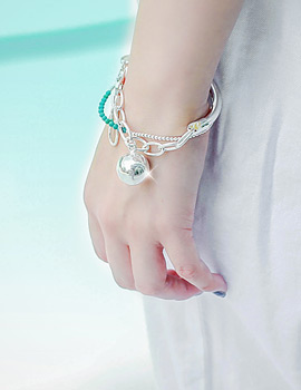 1043446 - <BC373-BD06> [Silver] biggest ball bracelet