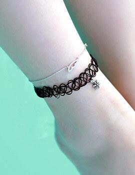 1043453 - <JS161-IH19> [Silver] tattoo choker anklet