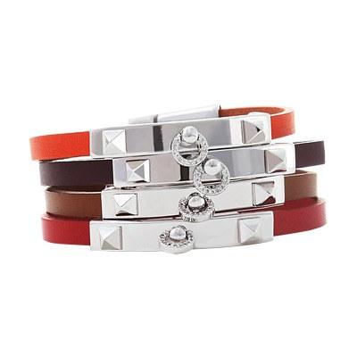 1043467 - <BC381-D> [Uniform] moon shine leather bracelet
