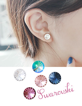 1043468 - <ER757-GF23> Swarovski shine round earrings