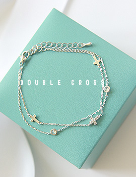 1043482 - <BC389-IG04> double line cross bracelet