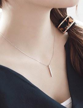 1043496 - <NE216-BA08> [Silver chain] sharp stick necklace