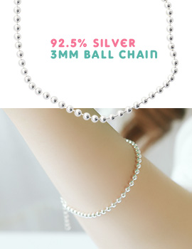 1043506 - <BC393-IF11> [Silver] 3mm ball bracelet