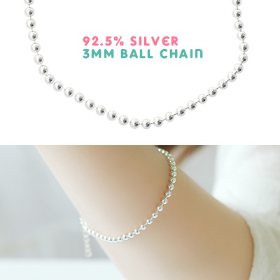 1043506 - <BC393-IF11> [Same day shipping] [Silver] 3mm ball bracelet