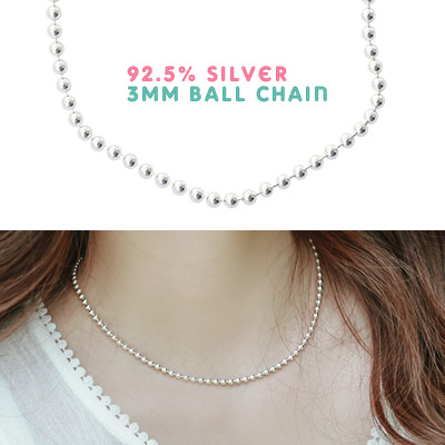 1043508 - <NE218-IF11[당일출고]> [Silver] 3mm ball necklace