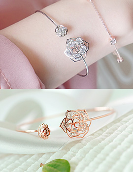 1043546 - <BC403-S> crystal rose bangle bracelet