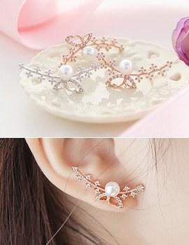 1043574 - <ER779-DF17> [Silver Post] boros butterfly earrings